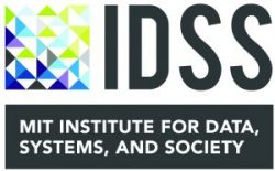 Logo for MIT's Institute for Data, Systems, and Society (IDSS) - box with blue, green, grey, and purple triangles with the letters IDSS to the right of it and the text MIT Institute for Data, Systems, and Society in a black bar below it