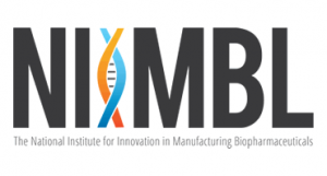 NIIMBL Logo - the word NIIMBL where the second I is a DNA double helix in orange and blue, with the words The National Institute for Innovation in Manufacturing Biopharmaceuticals below it