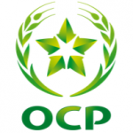 OCP Logo - a light and dark green star with two wheat stems curving around it on either side, and the word OCP below it